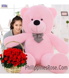 6 feet giant bear with rose basket to philippines