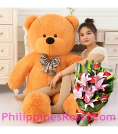 4 ft bear with lily and rose bouquet in philippines