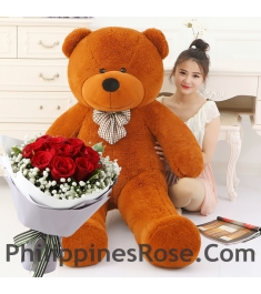 6 ft giant bear with rose bouquet to philippines