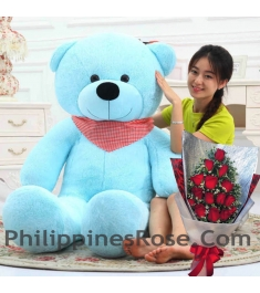 5 ft giant teddy with red rose bouquet to philippines