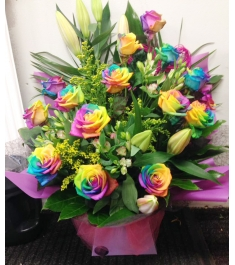 Send 12 Rainbow Rose Bouquet to Philippines