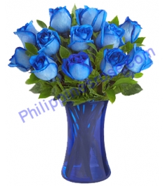 12 Holland Blue Roses Delivery to Philippines