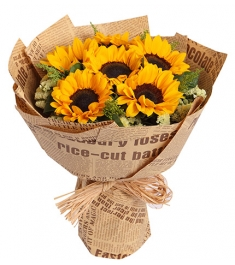 6 piece sunflowers bouquet