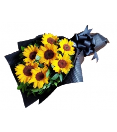 six sunflowers in bouquet