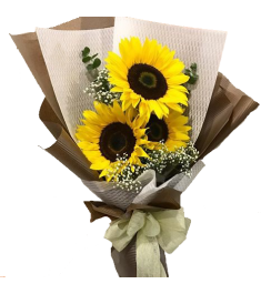 three pieces sunflowers bouquet