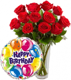 rose vase with balloon to philippines