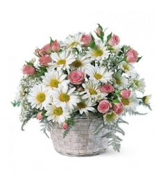 Pink Flower Basket of Roses & Daisy