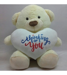 Send White Teddy Bear - Thinking Of You Text on Heart to Philippines