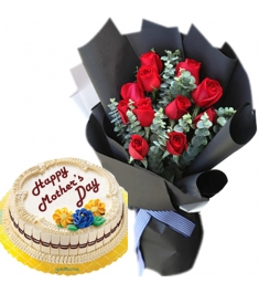 12 red roses with marble chiffon cake to philippines