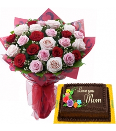 24 mix roses with chiffon cake to philippines