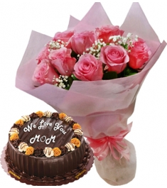 12 pink rose bouquet with choco caramel cake to philippines