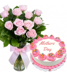 12 pink roses vase with dairy queen cake