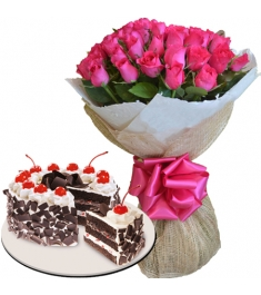 24 pink rose bouquet with black forest cake