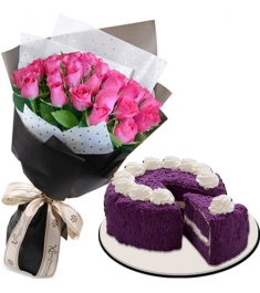 24 pink rose bouquet with red ribbon ube cake