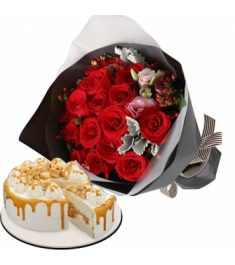 one dozen red roses with coffee crunch cake