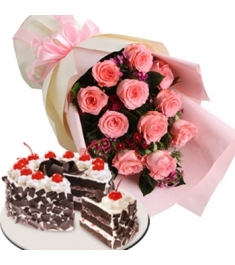1 dozen roses with black forest cake