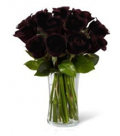 12 Black Roses in Vase Send to Philippines