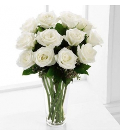 12 White Ecuadorian Roses Send to Philippines