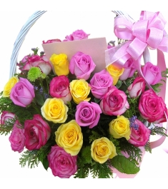 24 Pink,Red & Yellow Roses Basket to Philippines