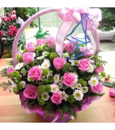 24 Pink Harmony Roses Basket to Philippines