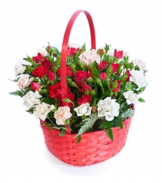 Red & White Roses in Basket to Philippines