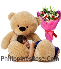 5 feet giant bear with mix flower bouquet