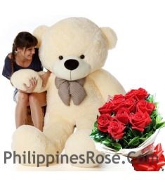 5 ft giant bear with red rose bouquet in philippines
