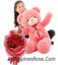 3 feet bear with 12 red rose bouquet to philippines