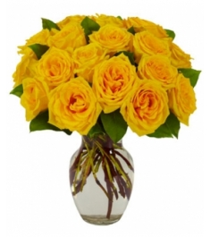 12 yellow roses in vase to philippines