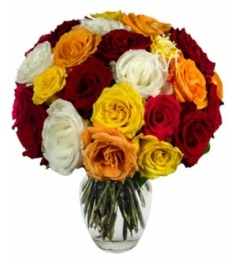 24 Mixed Roses in Vase Delivery to Philippines