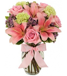pink rose,lilies with mix flowers in vase