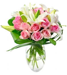 buy rose with lilies vase to philippines