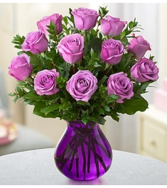 One Dozen Purple Holland Roses in Vase to Philippines