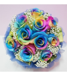 One Dozen Rainbow Roses in Bouquet to Philippines