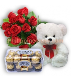 12 Red Roses,Ferrero Chocolate with Bear to Philippines