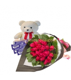 12 Pink Roses,Cadbury Chocolate Bar with Bear Send to Philippines