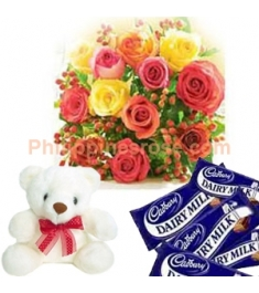 12 Mixed Roses,Cadbury Chocolate Bar with Bear Send to Philippines