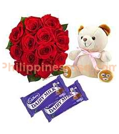 12 Red Roses in Bouquet,Cadbury Chocolate Bar with Bear Send to Philippines