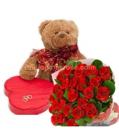 12 Red Roses Bouquet,Chocolate Box with Bear Send to Philippines