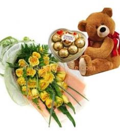 24 Yellow Roses in Bouquet,Ferrero Rocher Box with Bear Send to Philippines