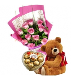 12 Pink Roses Bouquet,Ferrero Rocher Box with Bear Send to Philippines