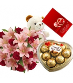 12 Red Roses & Pink Lilies Bouquet,Ferrero Rocher Box with Bear Send to Philippines