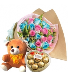 24 Pink & Blue Roses Bouquet,Ferrero Rocher Box with Bear Send to Philippines