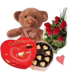 6 Red Roses Bouquet,Chocolate Box with Bear Send to Philippines