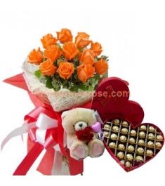12 Orange Roses Bouquet, Chocolate W/ Bear Send to Philippines