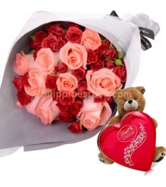 red and pink rose bouquet bear and chocolate box