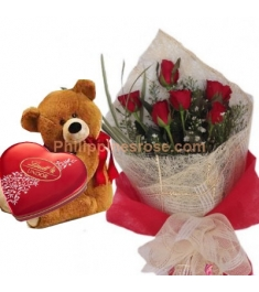 6 Red Roses Bouquet,Lindt Chocolate Box w/ Bear Send to Philippines
