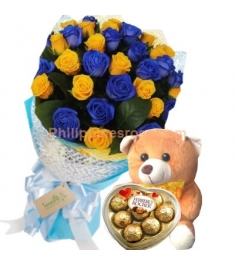24 Yellow & Blue Roses,Ferrero Heart Shape Box with Bear to Philippines