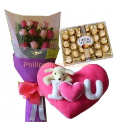 12 Pink Roses,Ferrero Box w/ Pillow by Bear Huggs Send to Philippines