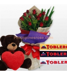 12 Red Roses Bouquet,Toblerone Chocolate w/ Heart Bear to philippines